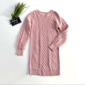 GAP Kids Blush Pink Cotton Cable Sweater Dress